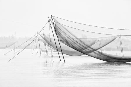 Square fishing nets, Thu Bon River, Vietnam