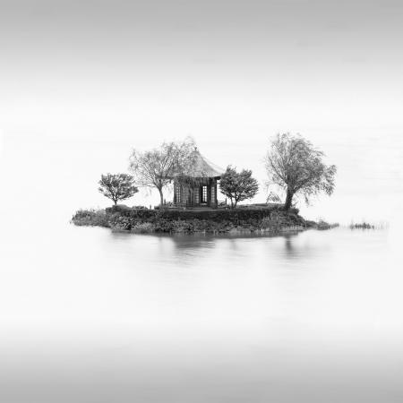 A pavillion on an island on lake Kawaguchi, Japan