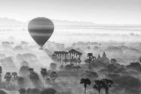 A hot air balloon over Bagan at sunrise, Myanmar