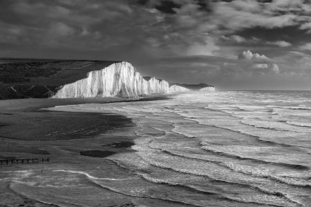 A stormy sea, Seven sisters, East Sussex, England