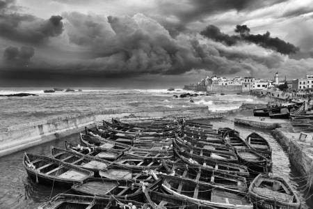 Boats moored up in Essaouira, Mogador, Morocco