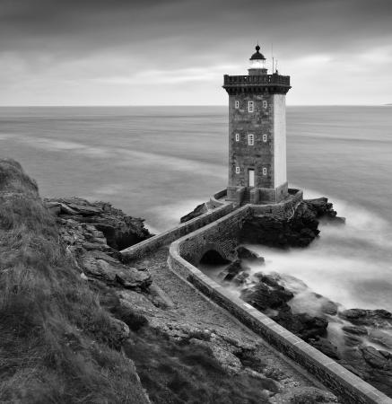 Kermorvan lighthouse at dawn, le Conquet, North Finistere, Brittany, France