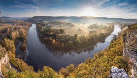 Panoramic view of the Dordogne river in the autumn, France