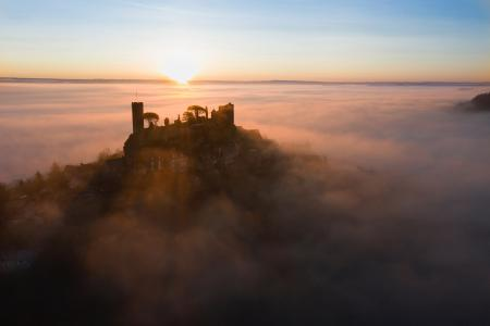Aerial view of Turenne at sunrise, Correze, France