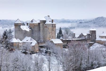 Curemonte in the snow, Correze, France