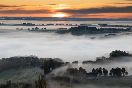 Turenne at sunrise, Correze, France
