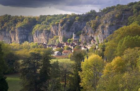 Cliffs and village of Gluges, Lot, France