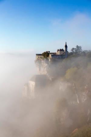 Rocamadour in the morning mist, Lot, France