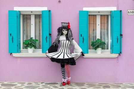 Black and white lady on Burano