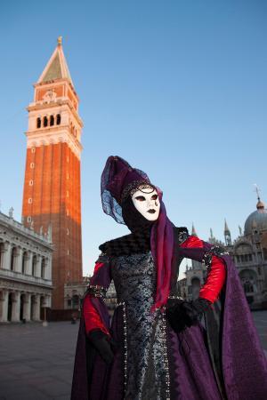 Striking costume in front of the Campanile, Venice Carnival